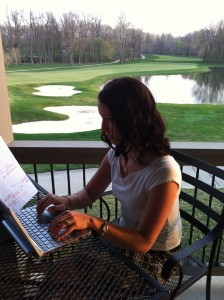 Writing at the golf course.